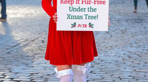 Actress Helen Flanagan joins the charity Peta, in Covent Garden, central London, who are calling on shoppers to avoid buying fur products as Christmas presents.