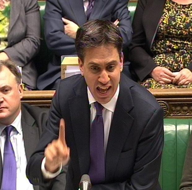 Labour party leader Ed Miliband speaks during Prime Minister's Questions in the House of Commons, London.
