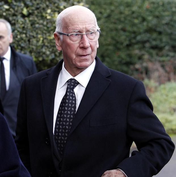 Sir Bobby Charlton attends the funeral of former Manchester United player Bill Foulkes.
