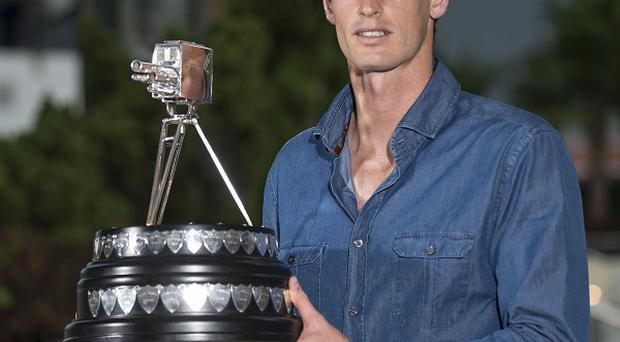 Andy Murray receiving his award for 2013 BBC Sports Personality of the Year in Miami, USA