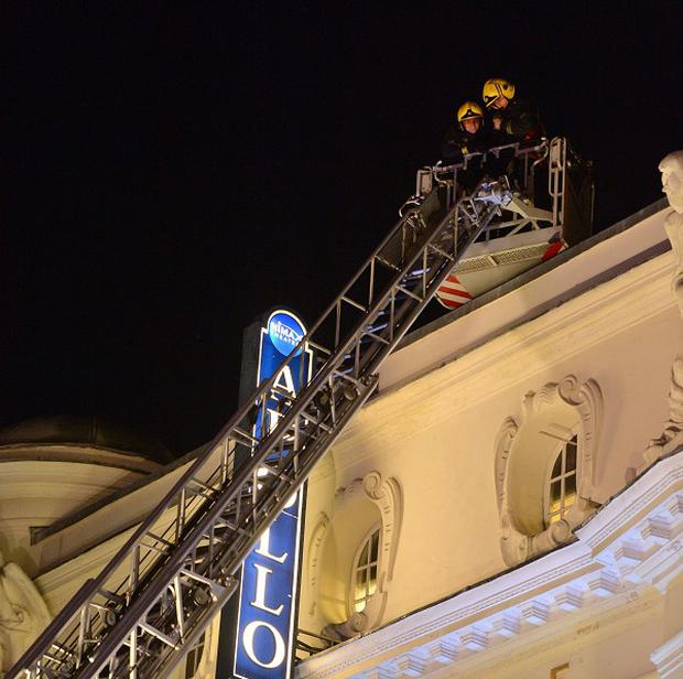 Emergency services at the Apollo Theatre in Shaftesbury Avenue, central London