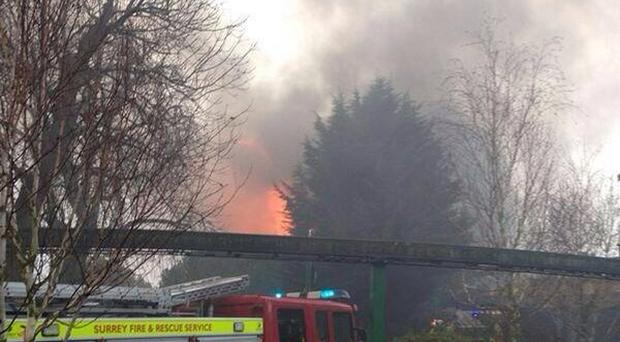 A photo posted on the Twitter account of @MPSKingston shows the size of the fire at the Creaky Cafe in the Chessington World of Adventure Resort in Surrey