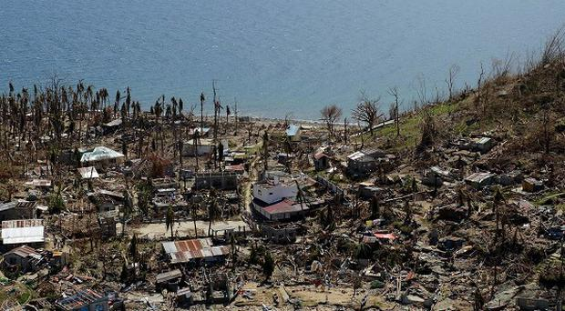 An area of devastation following Typhoon Haiyan in the Philippines.