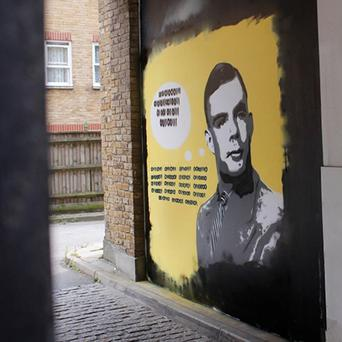 The Alan Turing mural, part of a work featuring code-breakers