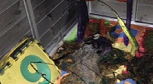 The charred remains of a sensory room built as a Christmas present by Fiona and Wesley Ratcliff, from Woodhouse Park in Wythenshawe, Manchester, for their severely autistic son Harvey, seven.