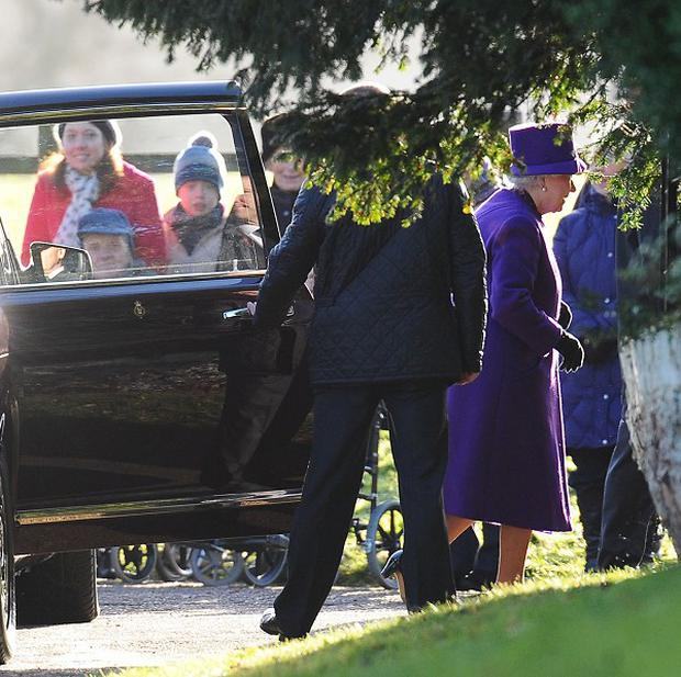 The Queen Elizabeth arrives for the service at St Mary Magdalene Church on the royal estate in Sandringham