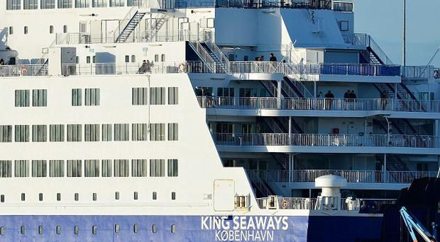 DFDS Seaways ferry King Seaways, berthed at the Port of Tyne passenger terminal after a fire on board sparked an emergency rescue and forced it to return to Newcastle.