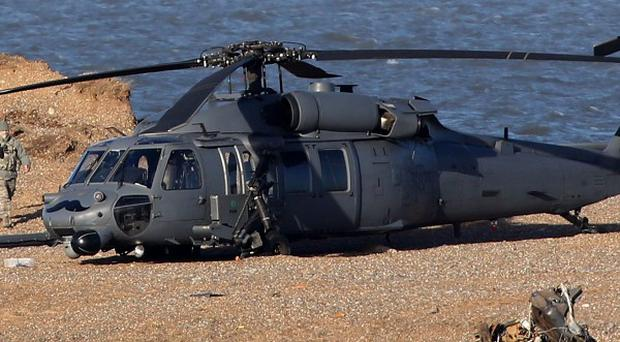 The wreckage of the US Air Force HH-60G Pave Hawk helicopter that crashed during a training exercise in Norfolk, killing four crew members. .