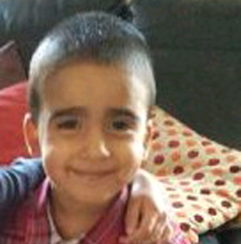 Undated family handout photo issued by Police Scotland of missing three-year-old Mikaeel Kular