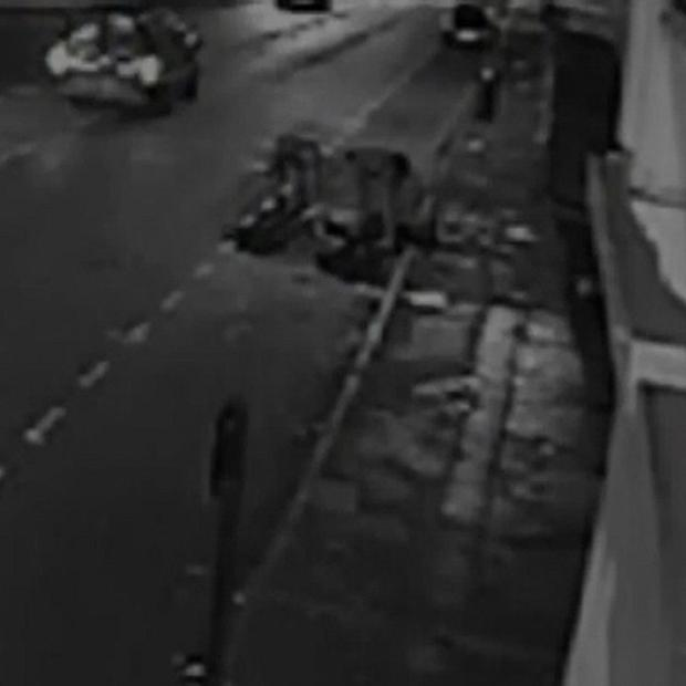 CCTV footage of a robbery victim being knocked unconscious by a single punch as he walked home from a party.