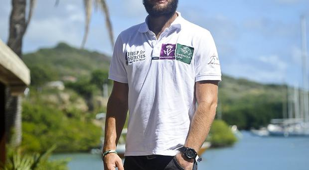 Row2Recovery Team member Cayle Royce on dry land on Antigua after finishing his row across the Atlantic Ocean
