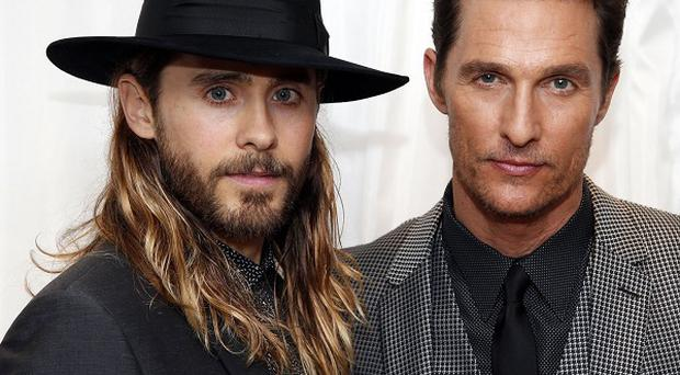 Matthew McConaughey (right) arrives with Jared Leto at the Washington Hotel, London