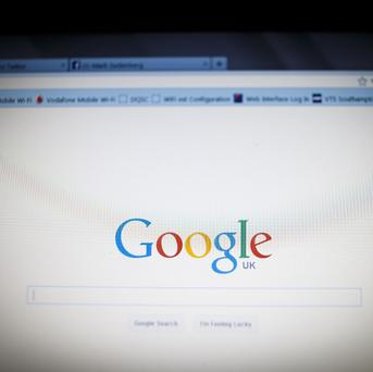 File photo dated 10/12/13 of the Google logo as seen by millions of users worldwide on a laptop screen as a British technology company has been bought by Google as the search giant looks to self-driving cars and robots for new sources of business.