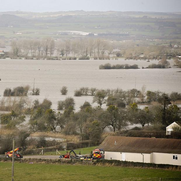 Flood water covers part of the Somerset Levels near Burrowbridge