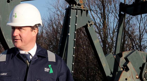 Prime Minister David Cameron pictured during a visit to a shale drilling oil depot.
