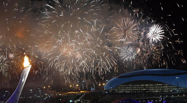 Fireworks are seen over the Olympic Park during the opening ceremony of the 2014 Winter Olympics in Sochi (AP)