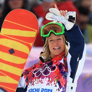 Britain's Jenny Jones celebrates after finding out she won bronze in the Women's Snowboard Snowstyle Final