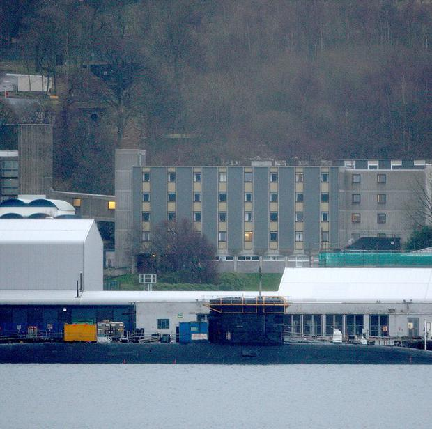 The Faslane base on the Clyde, where workers are to stage a strike