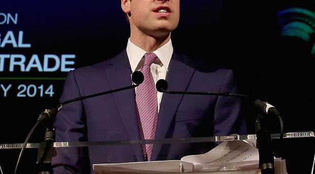 The Duke of Cambridge speaks at an evening reception for the Illegal Wildlife Trade conference at the Natural History Museum, London