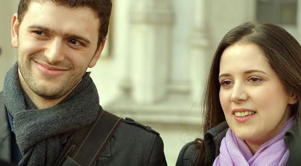 Louisa Hodkin and Alessandro Calcioli outside the Supreme Court in London, after winning their battle to marry in a Church of Scientology chapel