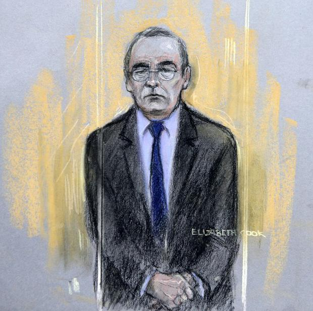 Court artist sketch by Elizabeth Cook of Fred Talbot in the dock at Manchester Magistrates' Court.
