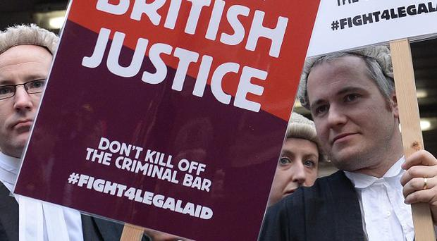 Barristers and solicitors protest during the nationwide strike