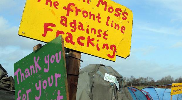 Protest signs at Barton Moss, Greater Manchester