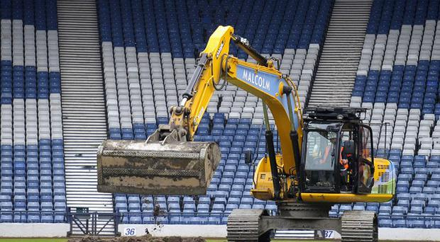 Turf was dug up at Hampden Park to prepare the stadium for the 2014 Commonwealth Games
