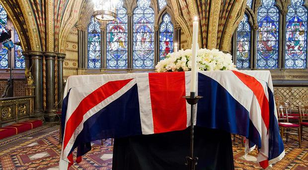 Baroness Thatcher's coffin rested in the Crypt Chapel of St Mary Undercroft before her funeral.