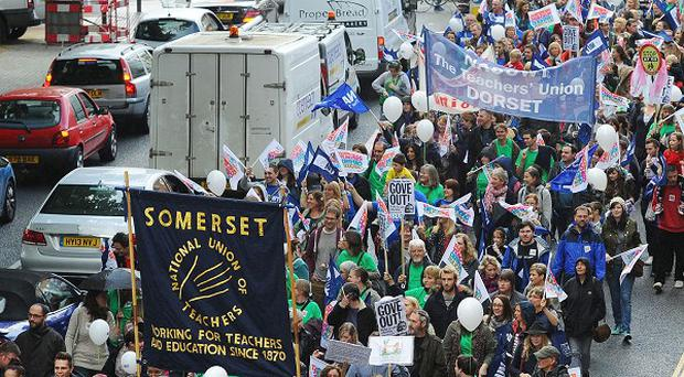 Striking teachers marching through Bristol last year in the row over pay, pensions and working conditions