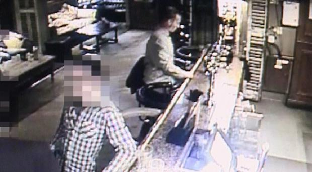 CCTV showing James Attfield at the River Lodge pub in Middleborough, Colchester, before he was found murdered in a park (Essex Police)
