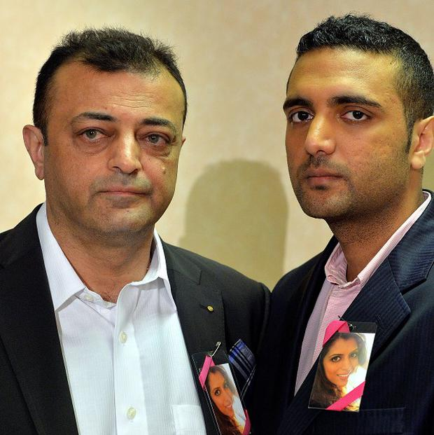 Asok Hindocha (left) the uncle of Anni Dewani and Anish Hindocha (right) the brother of Anni Dewani was murdered in South Africa in November 2010, speaking at a press conference.