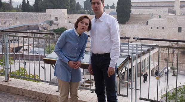 Labour leader Ed Miliband and his wife Justine are shown around the Old City of Jerusalem, Israel