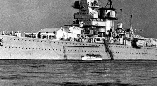 The German pocket battleship, Admiral Graf Spee, which fought an epic sea battle with the British Cruisers Exeter, Ajax and Achilles, at the mouth of the River Plate