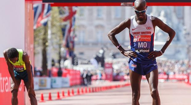 Mo Farah after finishing in eighth place in the Virgin Money London Marathon.