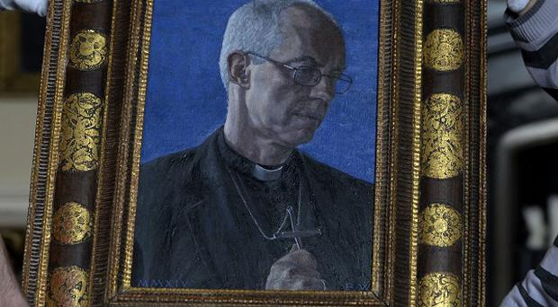 The first portrait of Archbishop of Canterbury Justin Welby, by artist Roger Wagner, goes on display at Auckland Castle, County Durham, alongside artwork covering 500 years of Church history