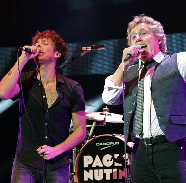 Paolo Nutini (left) and Roger Daltrey perform on stage during the Teenage Cancer Trust series of charity gigs