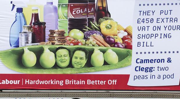 The Labour party campaign poster ahead of the European Elections, in London.