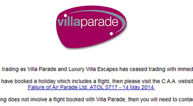 The front page of www.villaparade.co.uk carries a notice to say it has ceased trading