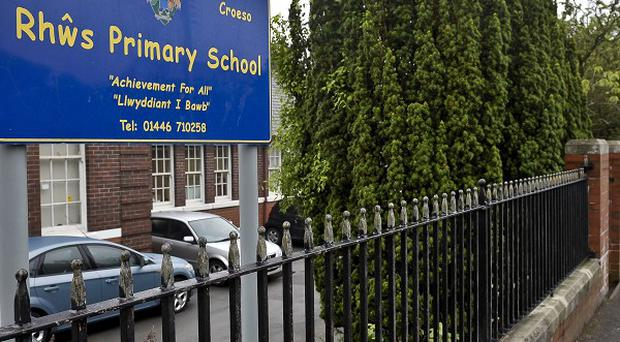 Rhws Primary School, where a car flipped over leaving nine people injured, including five children