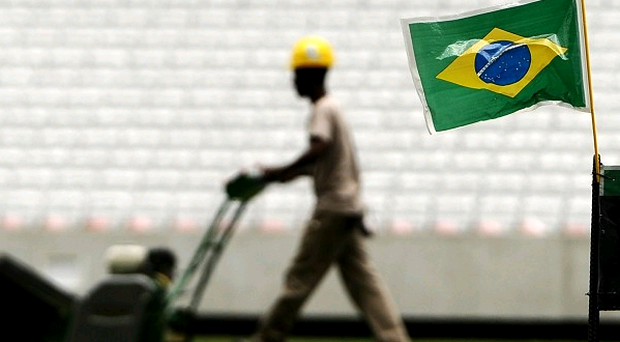 Preparations are underway at the Arena de Sao Paulo, Brazil, where the opening game of the World Cup will take place.