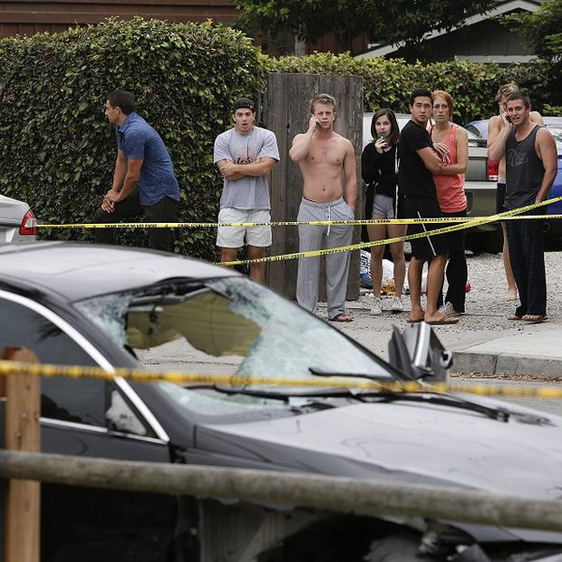 The BMW saloon driven by the gunman in Isla Vista, California (AP)