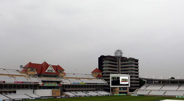 Rain stops play yesterday during a cricket match at Trent Bridge, Nottingham - more wet weather is forecast for the next 48 hours