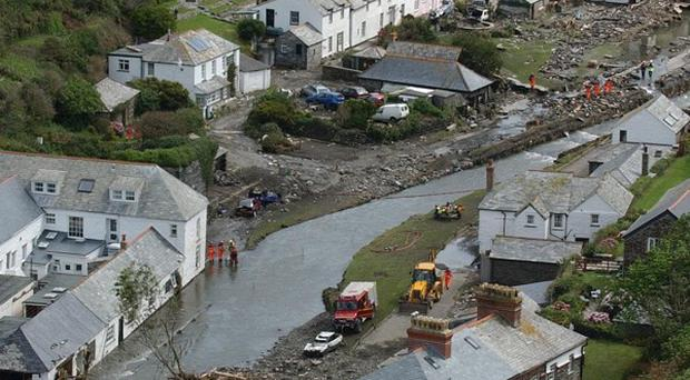 Short bursts of heavy rainfall triggered flooding in the north Cornwall town of Boscastle nearly a decade ago