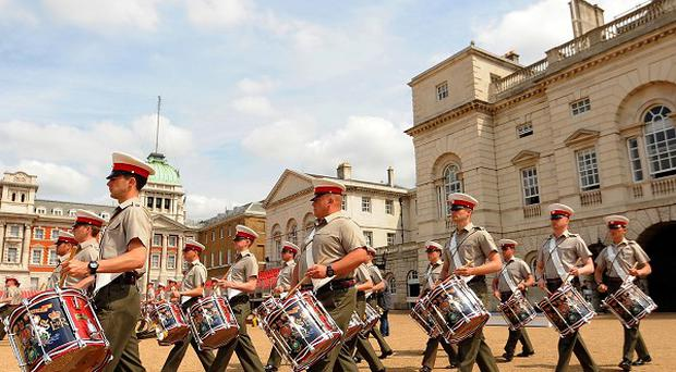 Troops rehearsing for the Beating Retreat ceremony.