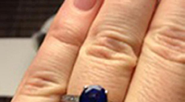 The hand-made engagement ring which was stolen from the church