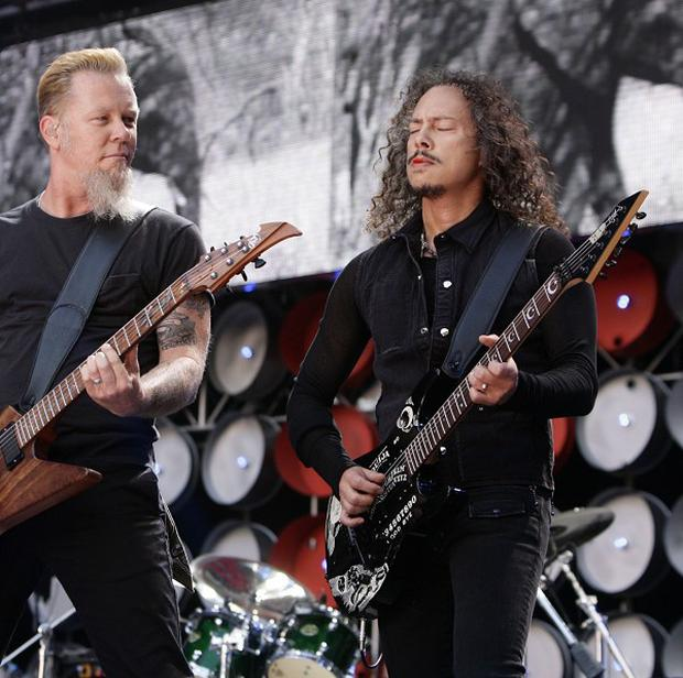 Metallica stars James Hetfield, left, and Kirk Hammett will be on stage for a Saturday headline set at Glastonbury