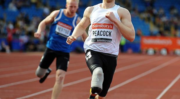 Ben has received some tips on how to run on blades from British Paralympic champion Jonnie Peacock, pictured