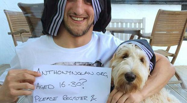 Rugby player Sam Warburton with pants on his head as part of a new social media craze to try to help eight-year-old Hollie Clark (@samwarburton_/Anthony Nolan /PA Wire)