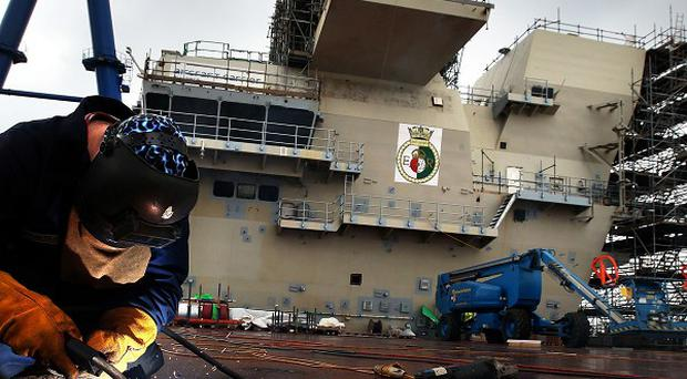 HMS Queen Elizabeth has been pieced together at Rosyth Dockyard in Fife